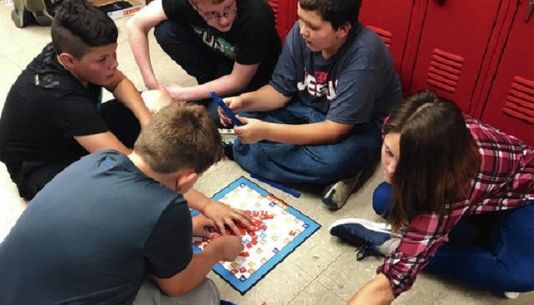 Arctic club members play a game after school at Bracken Co Middle School