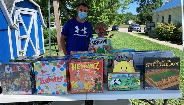 Collin Jarrell took it upon himself to create a fundraiser to help his community during the pandemic. He donated the funds to the Bracken County FRYSC where board games were purchased to give to families and promote family engagement.